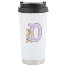 Teddy Alphabet D Purple Travel Mug