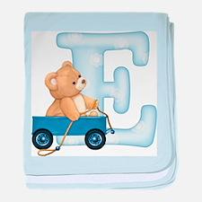 Teddy Alphabet E Blue baby blanket