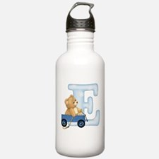 Teddy Alphabet E Blue Water Bottle