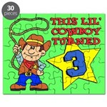 Little Cowboy Turned 3 Puzzle
