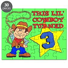Little Cowboy Turned 3 Puzzle