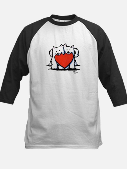 Japanese Spitz Heart Duo Kids Baseball Jersey