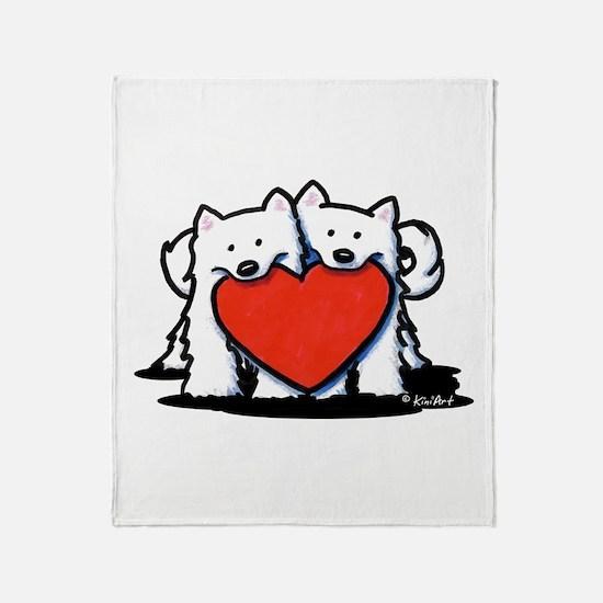 Japanese Spitz Heart Duo Throw Blanket