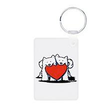Japanese Spitz Heart Duo Keychains