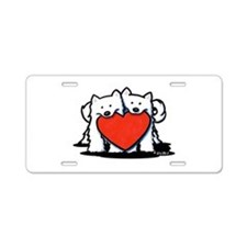 Japanese Spitz Heart Duo Aluminum License Plate