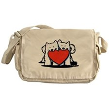 Japanese Spitz Heart Duo Messenger Bag