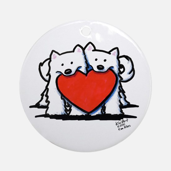 Japanese Spitz Heart Duo Ornament (Round)