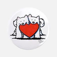 "Japanese Spitz Heart Duo 3.5"" Button"