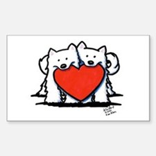 Japanese Spitz Heart Duo Decal