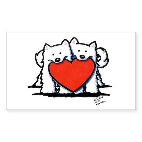 Japanese Spitz Heart Duo Sticker (Rectangle 10 pk)