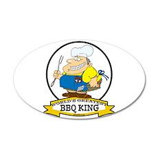 WORLDS GREATEST BBQ KING MEN 22x14 Oval Wall Peel