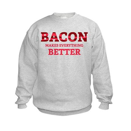 Bacon makes everything better Kids Sweatshirt