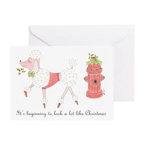 Christmas Poodle Greeting Card