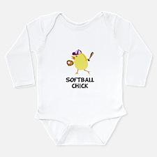 Softball Chick Long Sleeve Infant Bodysuit