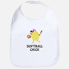 Softball Chick Bib