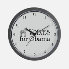 Wolves for Obama Wall Clock