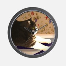 Black and White Cat Stretching Wall Clock