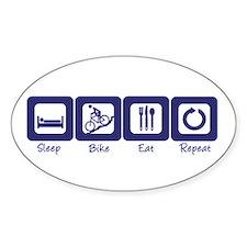 Sleep- Bike- Eat- Repeat Oval Decal