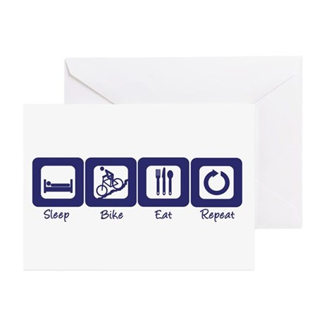 Sleep- Bike- Eat- Repeat Greeting Cards (Package o