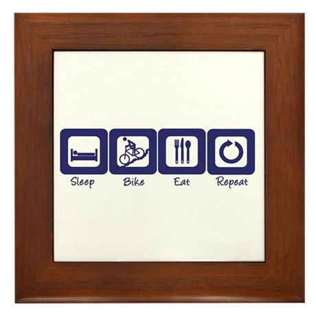 Sleep- Bike- Eat- Repeat Framed Tile