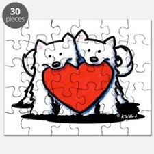 Japanese Spitz Heart Duo Puzzle