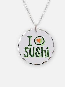 I Heart Sushi Necklace Circle Charm