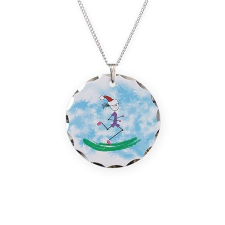 Christmas Lady Runner Necklace Circle Charm