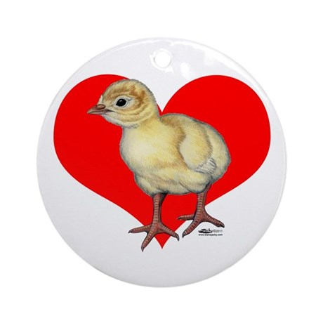 Turkey Poult Heart Ornament (Round)