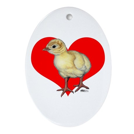 Turkey Poult Heart Ornament (Oval)