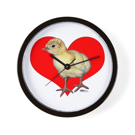 Turkey Poult Heart Wall Clock
