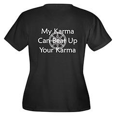 Karma Beat Down Women's Plus Size V-Neck Dark T-Sh