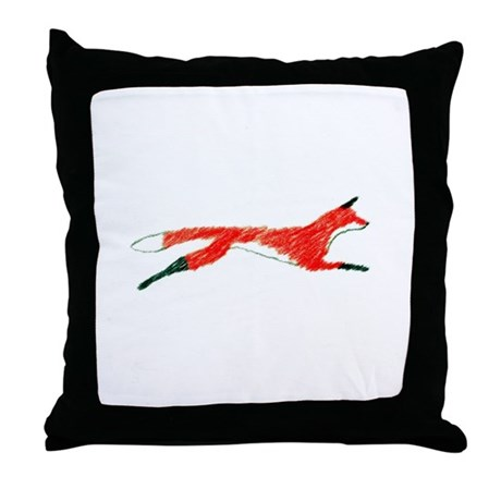 Leaping Fox Throw Pillow