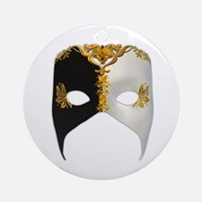 Venetian Mask: Black and White Ornament (Round)