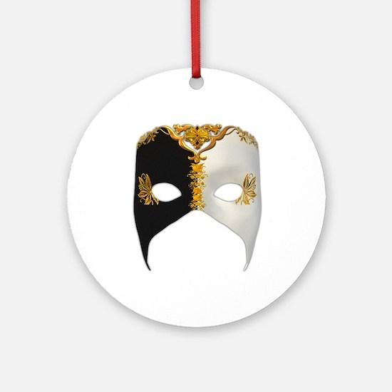 Venetian Mask: Black and White Ornament (Round)