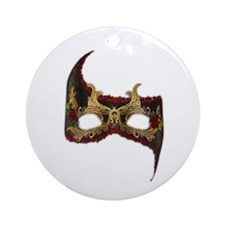 Venetian Mask: Red Rose Ornament (Round)