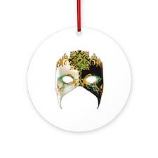 Venetian Mask: Emerald Jewel Ornament (Round)