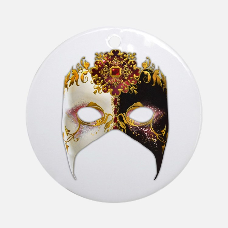Venetian Mask: Ruby Jewel Ornament (Round)