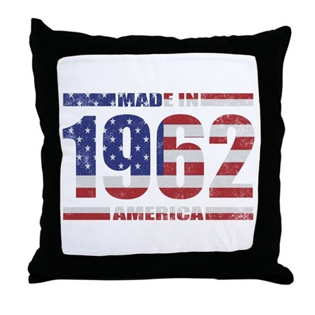 1962 Made In America Throw Pillow by pixelstreet