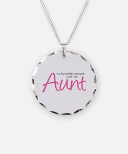 Favorite People Call Me Aunt Necklace Circle Charm