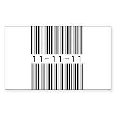 Bar Code 11-11-11 Sticker (Rectangle 10 pk)