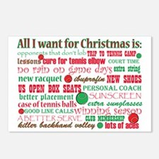 Tennis Holiday Greetings Postcards (Package of 8)