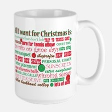 Tennis Holiday Greetings Large Mug