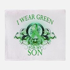 I Wear Green for my Son (flor Throw Blanket