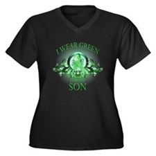 I Wear Green for my Son (flor Women's Plus Size V-