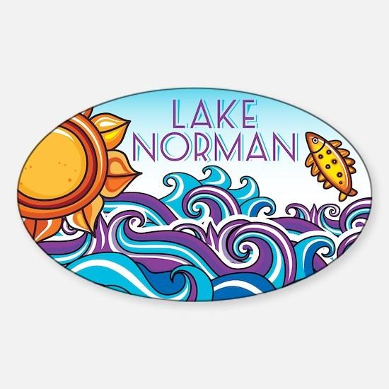 Lake Norman Oval Sticker (Sun & Waves)