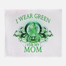 I Wear Green for my Mom (flor Throw Blanket
