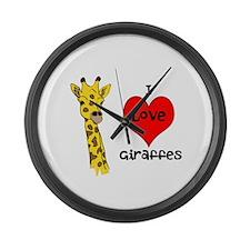 I Love Giraffes! Large Wall Clock