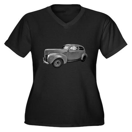 1940 Ford Women's Plus Size V-Neck Dark T-Shirt