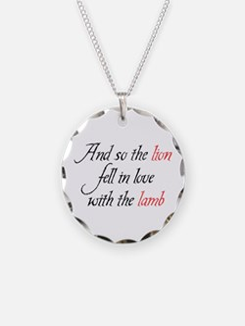 Lion Lamb 2 Necklace Circle Charm