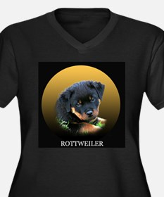 Adult Rottweiler Puppy T-Shir Women's Plus Size V-